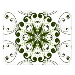 Frame Flourish Flower Green Star Double Sided Flano Blanket (Large)