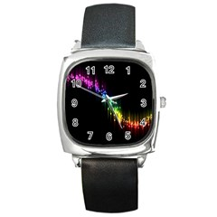 Illustrations Black Colorful Line Purple Yellow Pink Square Metal Watch