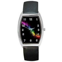 Illustrations Black Colorful Line Purple Yellow Pink Barrel Style Metal Watch