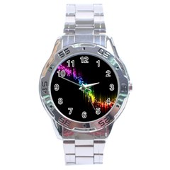Illustrations Black Colorful Line Purple Yellow Pink Stainless Steel Analogue Watch