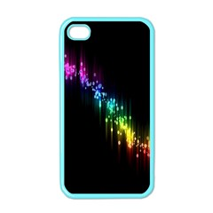Illustrations Black Colorful Line Purple Yellow Pink Apple Iphone 4 Case (color)