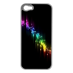 Illustrations Black Colorful Line Purple Yellow Pink Apple iPhone 5 Case (Silver)