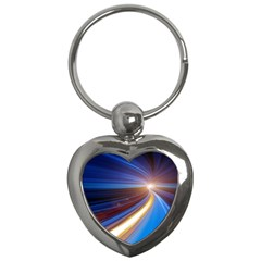 Glow Motion Lines Light Blue Gold Key Chains (Heart)