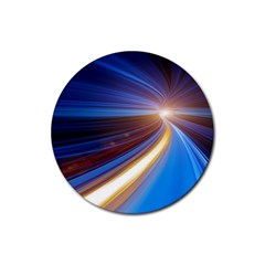 Glow Motion Lines Light Blue Gold Rubber Coaster (round)