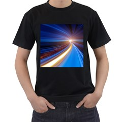 Glow Motion Lines Light Blue Gold Men s T-Shirt (Black) (Two Sided)