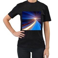 Glow Motion Lines Light Blue Gold Women s T-Shirt (Black) (Two Sided)