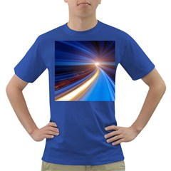 Glow Motion Lines Light Blue Gold Dark T-Shirt