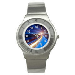 Glow Motion Lines Light Blue Gold Stainless Steel Watch
