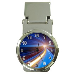 Glow Motion Lines Light Blue Gold Money Clip Watches