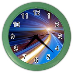 Glow Motion Lines Light Blue Gold Color Wall Clocks