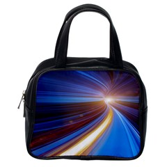Glow Motion Lines Light Blue Gold Classic Handbags (One Side)