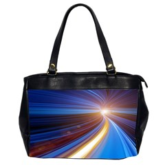 Glow Motion Lines Light Blue Gold Office Handbags (2 Sides)