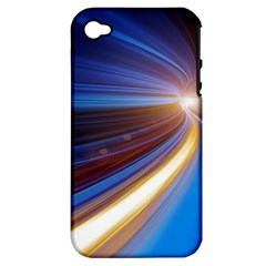 Glow Motion Lines Light Blue Gold Apple iPhone 4/4S Hardshell Case (PC+Silicone)