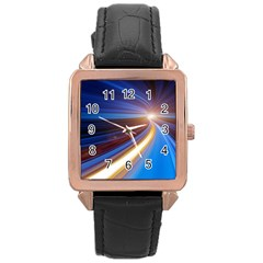 Glow Motion Lines Light Blue Gold Rose Gold Leather Watch