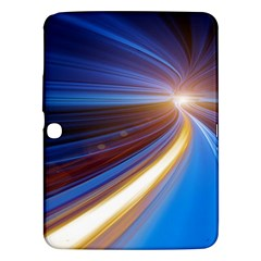 Glow Motion Lines Light Blue Gold Samsung Galaxy Tab 3 (10.1 ) P5200 Hardshell Case