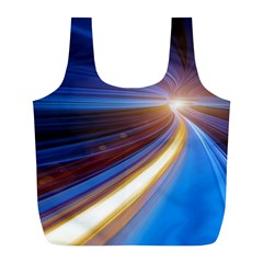 Glow Motion Lines Light Blue Gold Full Print Recycle Bags (L)