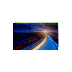 Glow Motion Lines Light Blue Gold Cosmetic Bag (XS)