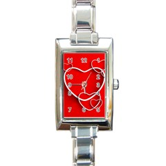 Heart Love Valentines Day Red Rectangle Italian Charm Watch
