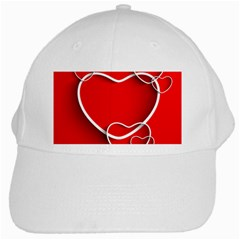 Heart Love Valentines Day Red White Cap