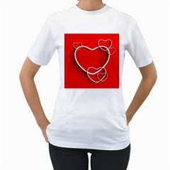 Heart Love Valentines Day Red Women s T-Shirt (White) (Two Sided)