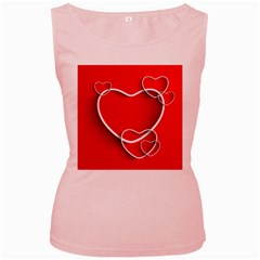 Heart Love Valentines Day Red Women s Pink Tank Top