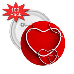 Heart Love Valentines Day Red 2.25  Buttons (100 pack)