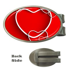 Heart Love Valentines Day Red Money Clips (Oval)