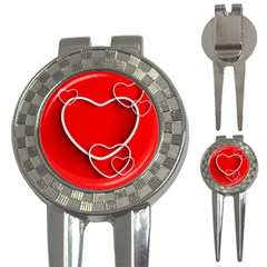 Heart Love Valentines Day Red 3-in-1 Golf Divots