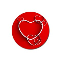 Heart Love Valentines Day Red Rubber Coaster (Round)