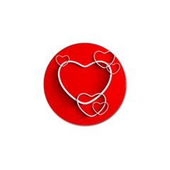 Heart Love Valentines Day Red Golf Ball Marker (4 pack)