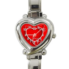 Heart Love Valentines Day Red Heart Italian Charm Watch