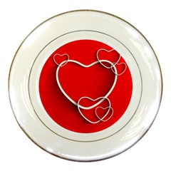 Heart Love Valentines Day Red Porcelain Plates