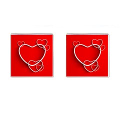 Heart Love Valentines Day Red Cufflinks (Square)