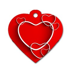 Heart Love Valentines Day Red Dog Tag Heart (Two Sides)