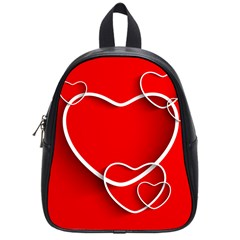 Heart Love Valentines Day Red School Bags (Small)