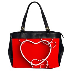 Heart Love Valentines Day Red Office Handbags (2 Sides)