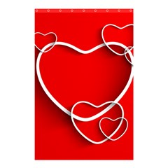 Heart Love Valentines Day Red Shower Curtain 48  x 72  (Small)