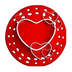 Heart Love Valentines Day Red Round Filigree Ornament (two Sides)