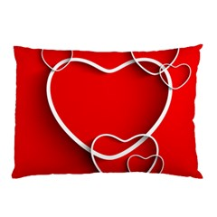 Heart Love Valentines Day Red Pillow Case (Two Sides)