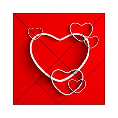 Heart Love Valentines Day Red Acrylic Tangram Puzzle (6  X 6 )