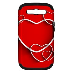 Heart Love Valentines Day Red Samsung Galaxy S III Hardshell Case (PC+Silicone)