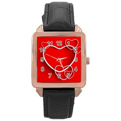 Heart Love Valentines Day Red Rose Gold Leather Watch