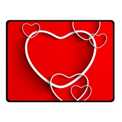 Heart Love Valentines Day Red Double Sided Fleece Blanket (Small)
