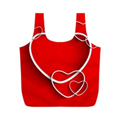 Heart Love Valentines Day Red Full Print Recycle Bags (M)