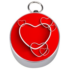 Heart Love Valentines Day Red Silver Compasses