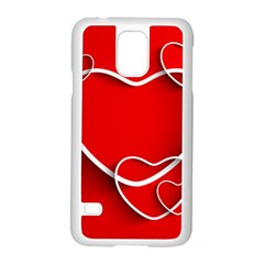 Heart Love Valentines Day Red Samsung Galaxy S5 Case (White)