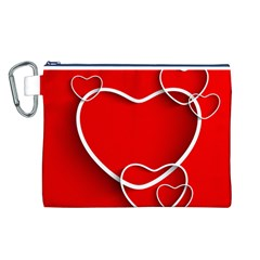 Heart Love Valentines Day Red Canvas Cosmetic Bag (L)