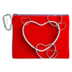 Heart Love Valentines Day Red Canvas Cosmetic Bag (XXL)