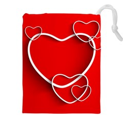 Heart Love Valentines Day Red Drawstring Pouches (XXL)