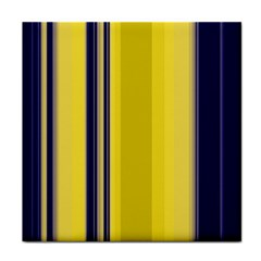 Yellow Blue Background Stripes Tile Coasters